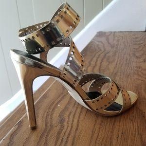 Paper Fox Gold Metallic Strappy Sandals